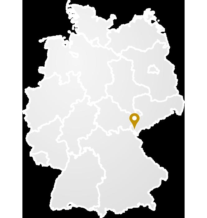 Deutschlandkarte mit Markierung des Standortes von GEK