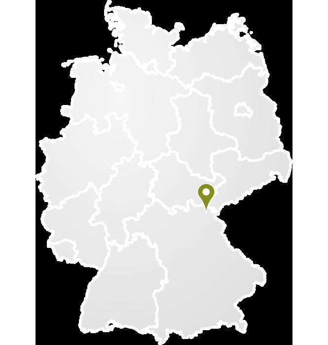 Deutschlandkarte mit Markierung des Standortes von PSD
